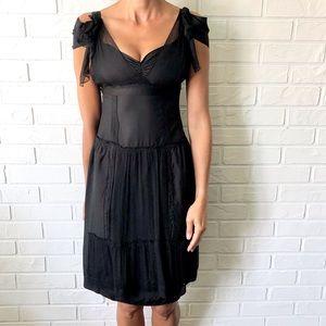 Prada Miu Miu black silk chiffon formal dress 40